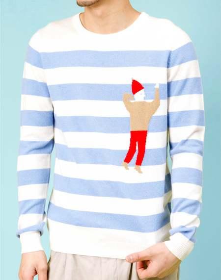 Unisex MATTER MATTERS Crew Neck Intarsia Wool/Cashmere Blend Sweater - White/Slate Blue