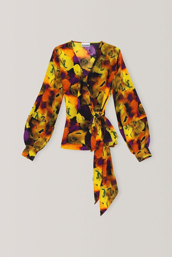 Ganni Silk Mix Wrap Blouse - Multi