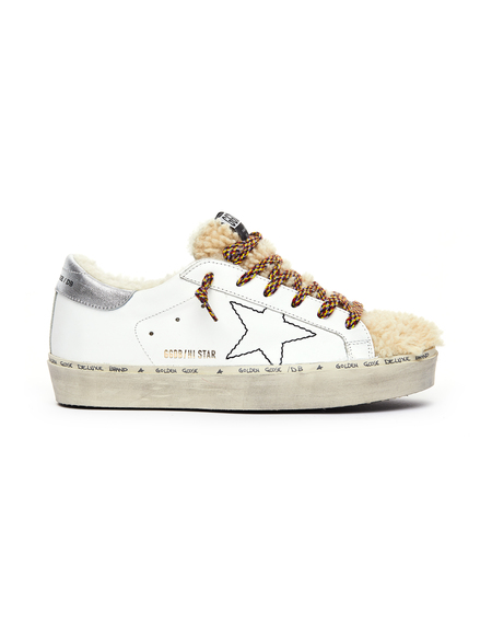 Golden Goose Shearling Hi-Star Sneakers - White