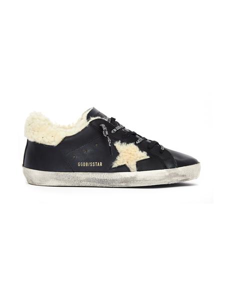 Golden Goose Shearling Superstar Sneakers - Black