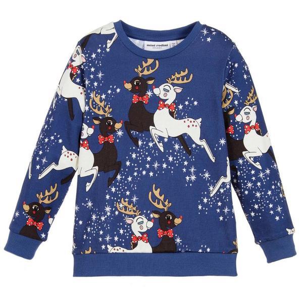Kids Mini Rodini Reindeer Sweatshirt - Navy
