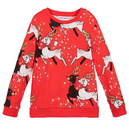 Kids Mini Rodini Reindeer Sweatshirt - Red