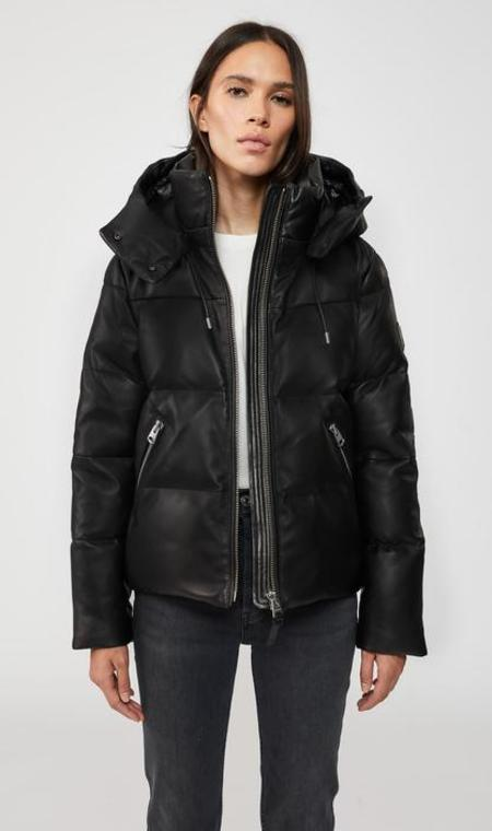 Mackage Tory Leather Down Jacket with Hood in Black