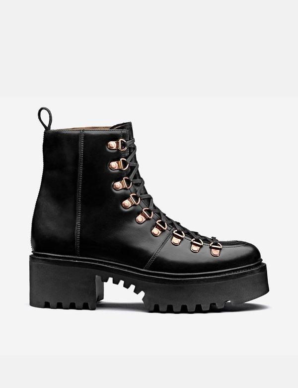Grenson Nanette Hiker Platform Sole Leather Boots - Black Colorado