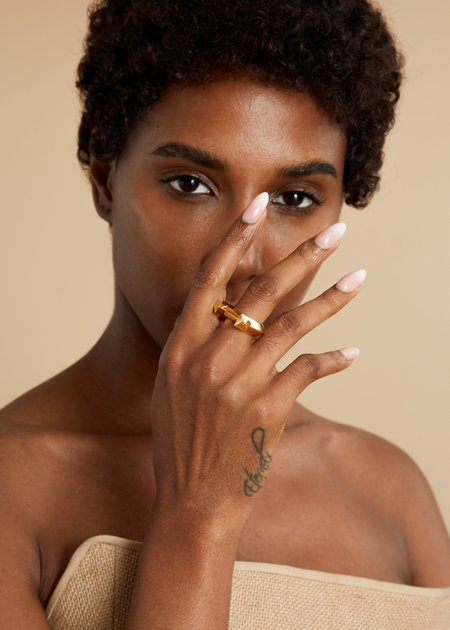 Third Crown Arc Ring - 18K Gold Plated Brass