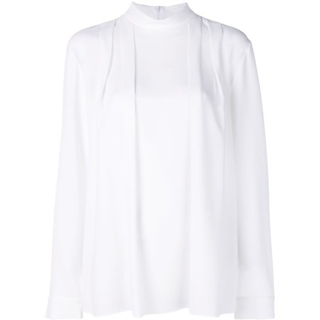 Tibi Savannah Crepe Pleated Top - White