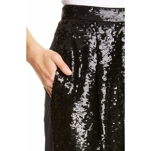 Tibi Sequin Ruched Hem Trousers - Black/Navy Multi