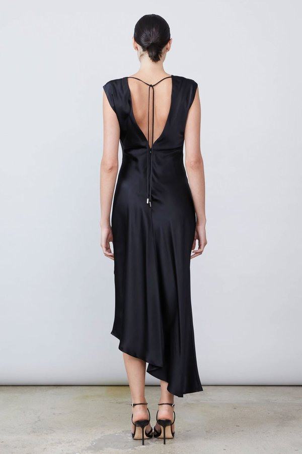 Allen Schwartz Desiree Deep V-Neck Dress - Black