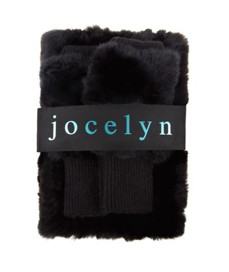 Jocelyn Fur Dyed Rex Rabbit Cowl & Mitten Set - Black