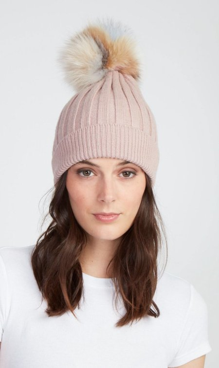 Jocelyn Fur Knit Hat With Fox Pom - Blush