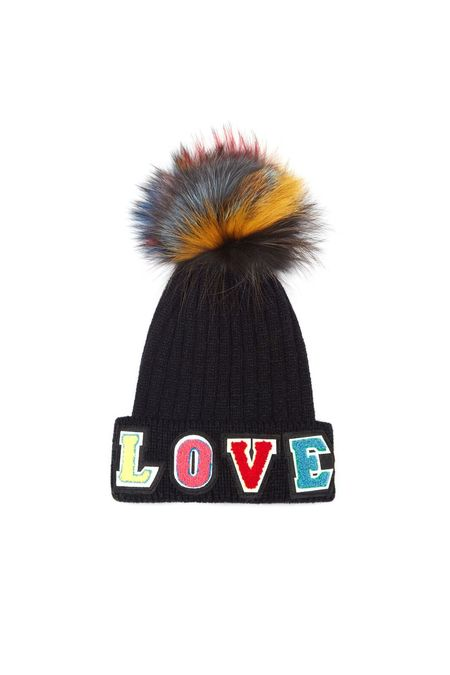 Jocelyn Fur Knit Hat With Love Patches And Dark Multi Fox Pom - Black