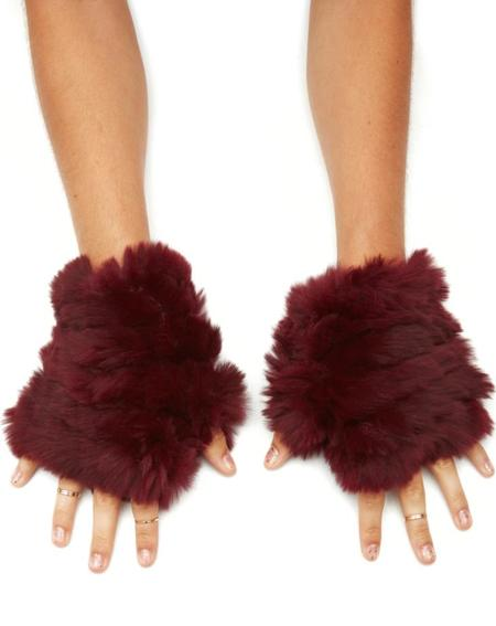 Jocelyn Fur Mandy Rabbit Knitted Fingerless Mitten - Berry