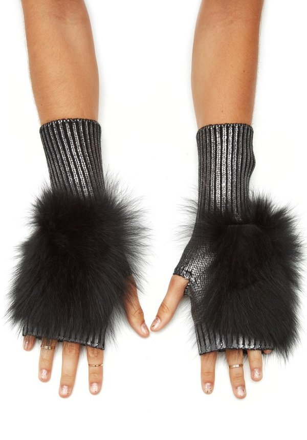 Jocelyn Fur Metallic Fingerless Mittens With Fox Fur - Gunmetal