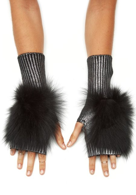 Jocelyn Fur Metallic Fingerless Mittens With Fox Fur - Gunmetal