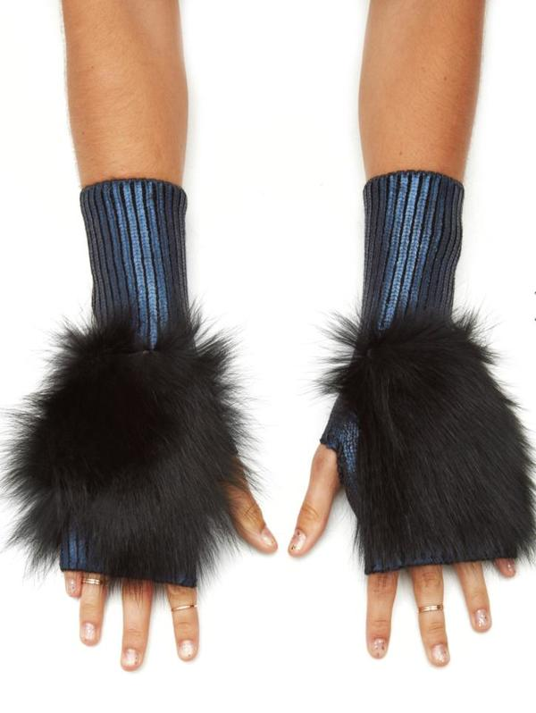 Jocelyn Fur Metallic Fingerless Mittens With Fox Fur - Navy