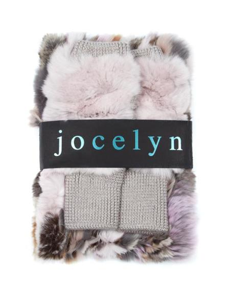 Jocelyn Fur Multi Texty Time Mitten And Cowl Set - Neutral