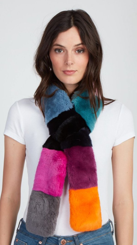 Jocelyn Fur Rex Rabbit Double Sided Pull Through Color Block Scarf - Multi