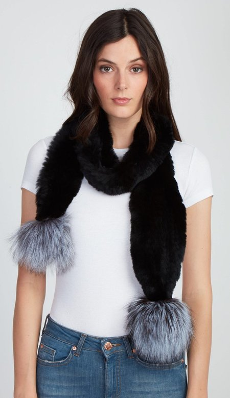 Jocelyn Fur Rex Rabbit Scarf With Silver Fox Poms - Black