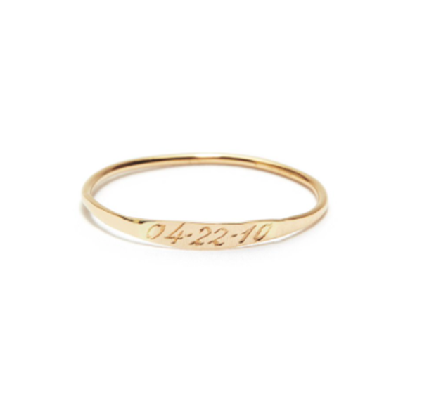Blanca Monrós Gómez hammered id band - 14K Yellow Gold