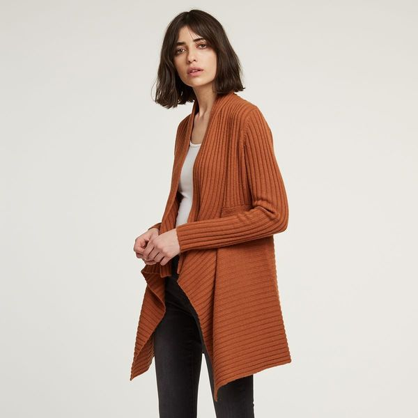 Autumn Cashmere Rib Drape Cardigan - Cinnamon