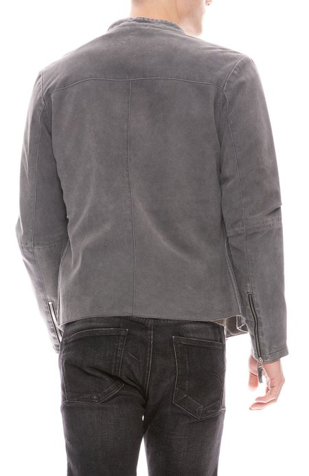 GIMOS Jersey Lined Leather Jacket - Charcoal