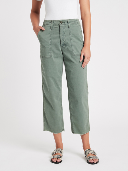 Mother Denim Patch Pocket Private Ankle Fray Jean - Army Green