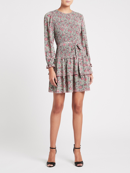 Rebecca Taylor Camila Floral Crepe Dress - Soft Mint Combination