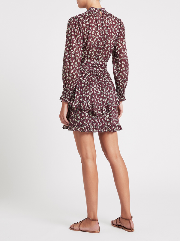 Rebecca Taylor Cherise Fleur Lurex Stripe Dress - Mahogany