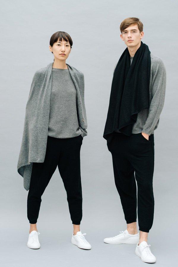 Grey Cashmere Travel Blanket/Wrap by Oyuna
