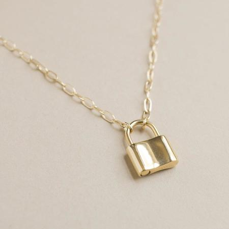 Merewif Holmes Padlock Necklace - gold plated brass