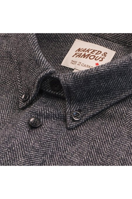 NAKED & FAMOUS Cotton Tweed Easy Shirt - Charcoal