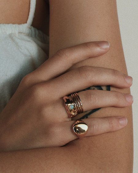 Merewif Dew Drop Ring - gold plated brass