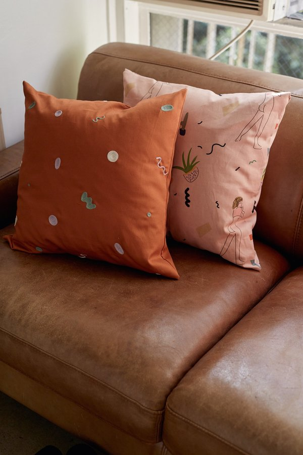 SELVA / NEGRA squiggles pillowcase - salmon