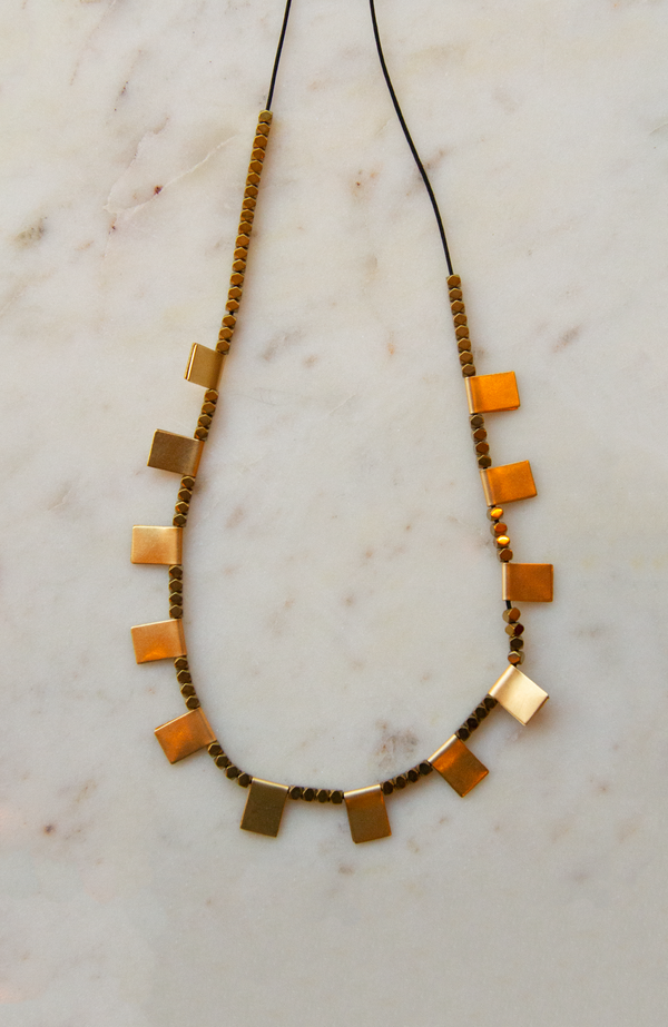 Sandy Hyun Hematite Beads and Brass Square Tab Necklace