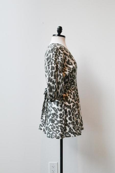 at Dawn. Linen Puff Sleeve Mini Dress