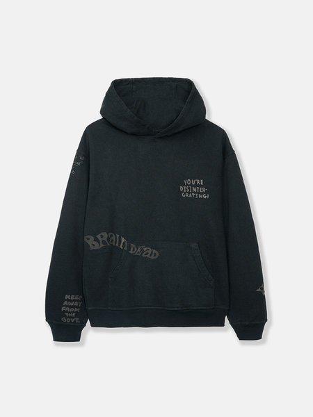 BRAIN DEAD Tonal Type Print Hoodie - Black