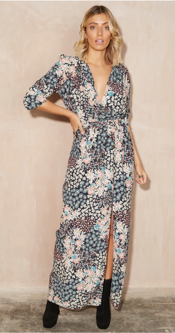 Never Fully Dressed Gabriel Maxi - Black Floral