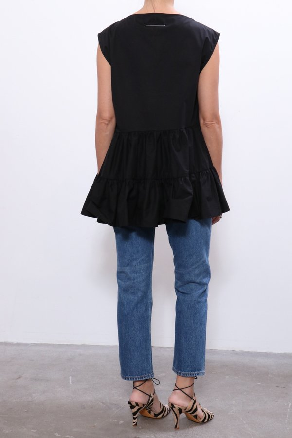 MM6 Maison Margiela Asymmetric Ruffle Top - Black