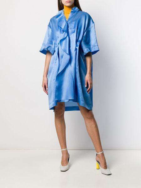 NINA RICCI Ruffle Oversized Silk Organza Dress - blue