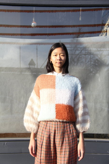 Maiami Mohair Big Sweater - Cooper/Smokey blue/beige