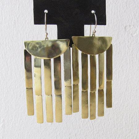 Satomi Studio bambu chandelier earrings - brass