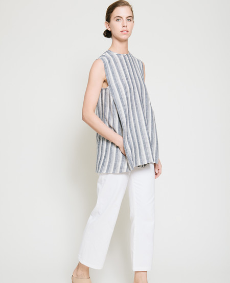 Gary Bigeni Safil Fold Top in Grey Stripe