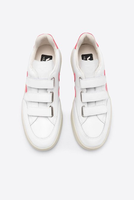 VEJA V Lock Leather Sneakers - Extra White/Rose Fluo