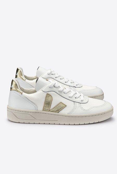 VEJA V10 B Mesh Sneakers - White/Gold