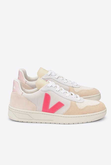 VEJA V10 Suede Sneakers - Multico Natural/Rose Fluo