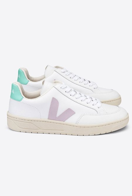 VEJA V12 Leather Sneakers - Extra White/Parme Turquoise