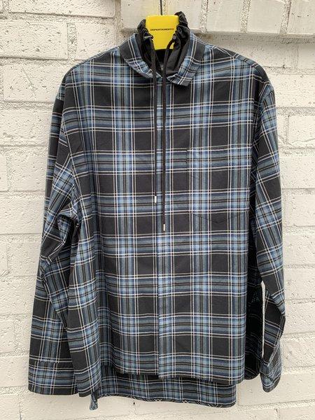 Lanvin High Collar Cord Long Overshirt - Plaid