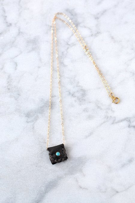 CLP Jewelry Leather Medicine Necklace - Turquoise