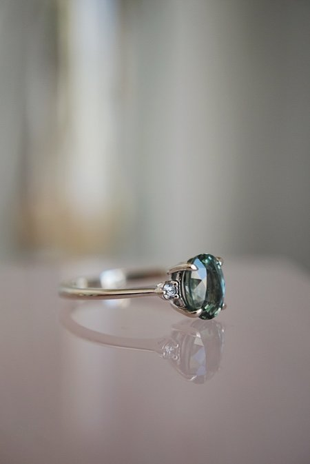 Foe and dear Companions Ring - 1.98ct Oval Green Sapphire