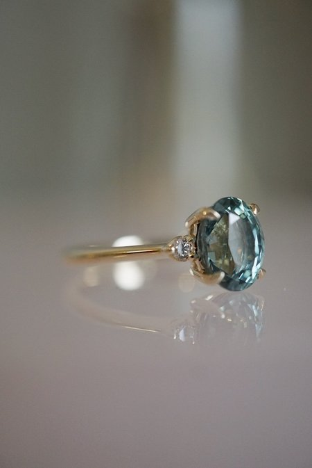 Foe and dear Companions Ring -  2.23ct Oval Aqua Sapphire
